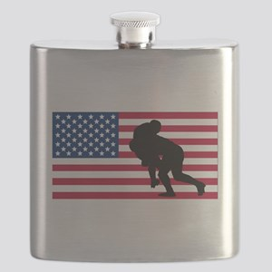 Rugby Tackle American Flag Flask