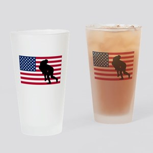 Rugby Tackle American Flag Drinking Glass