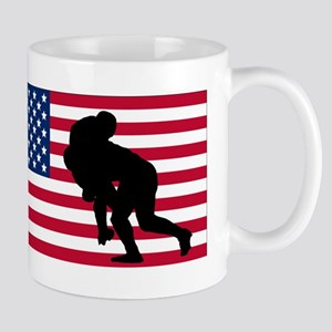 Rugby Tackle American Flag Mugs