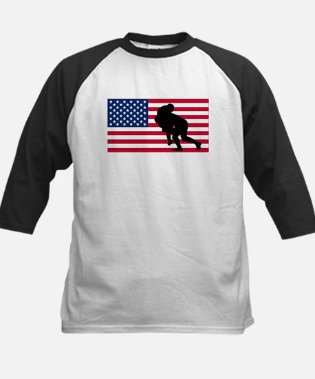 Rugby Tackle American Flag Baseball Jersey