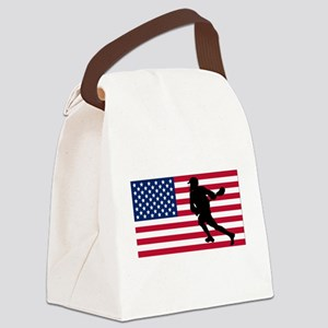 Lacrosse American Flag Canvas Lunch Bag
