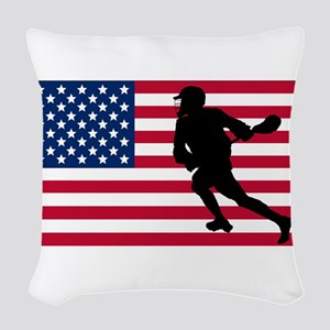 Lacrosse American Flag Woven Throw Pillow