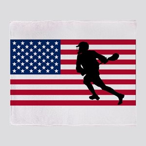 Lacrosse American Flag Throw Blanket