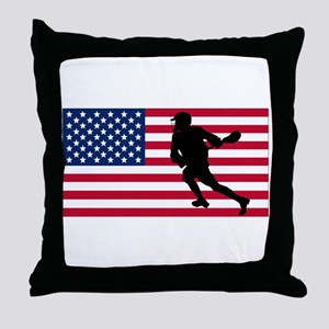 Lacrosse American Flag Throw Pillow