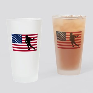 Lacrosse American Flag Drinking Glass