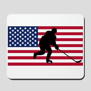 Hockey American Flag Mousepad