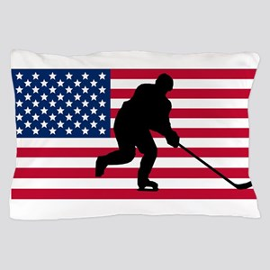 Hockey American Flag Pillow Case