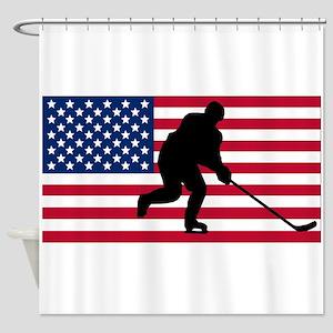 Hockey American Flag Shower Curtain