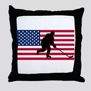 Hockey American Flag Throw Pillow
