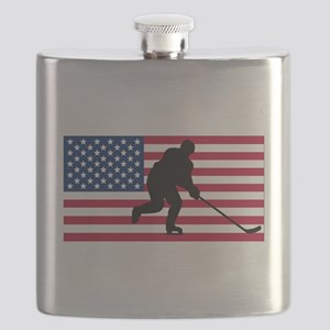 Hockey American Flag Flask