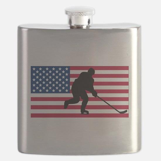 Hockey American Flag Flask