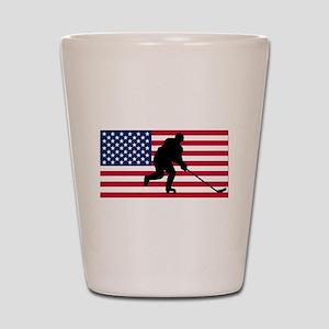 Hockey American Flag Shot Glass