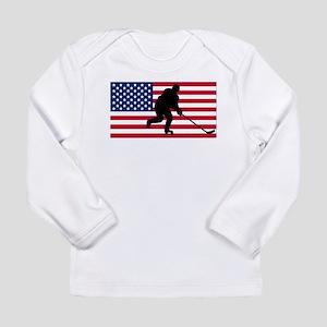 Hockey American Flag Long Sleeve T-Shirt