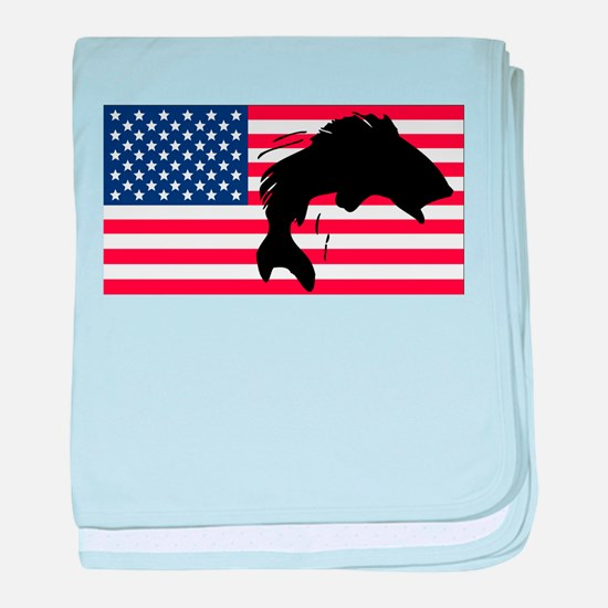 Fishing American Flag baby blanket