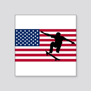 Skateboarding American Flag Sticker