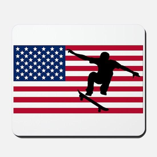 Skateboarding American Flag Mousepad