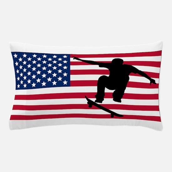 Skateboarding American Flag Pillow Case