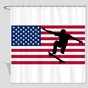 Skateboarding American Flag Shower Curtain