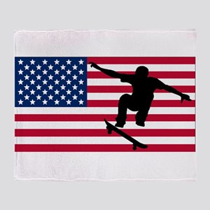 Skateboarding American Flag Throw Blanket