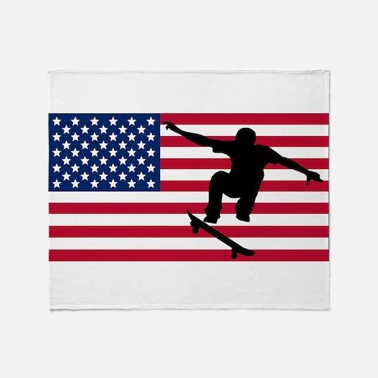 Skateboarding American Flag Throw Blanket