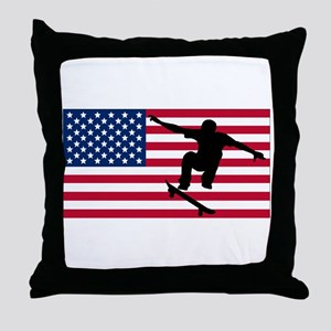 Skateboarding American Flag Throw Pillow