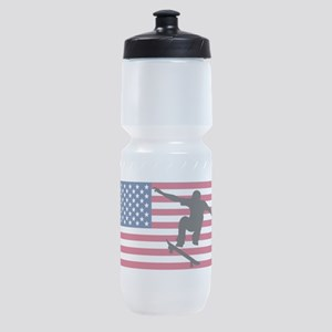 Skateboarding American Flag Sports Bottle