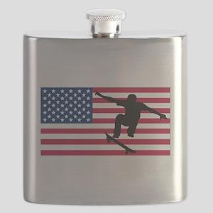 Skateboarding American Flag Flask