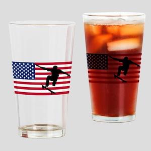 Skateboarding American Flag Drinking Glass