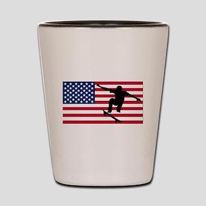 Skateboarding American Flag Shot Glass