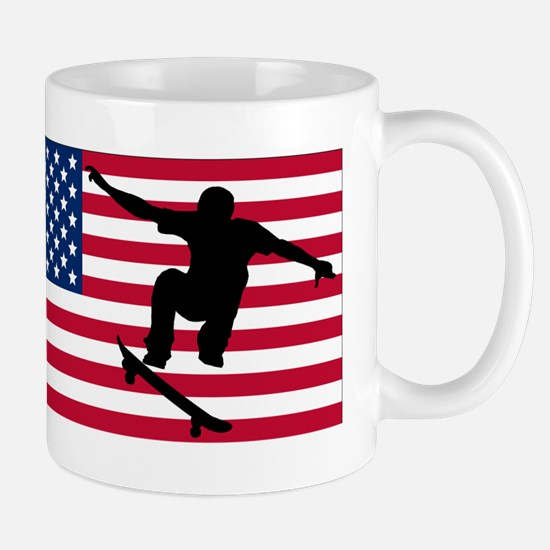Skateboarding American Flag Mugs