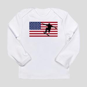 Skateboarding American Flag Long Sleeve T-Shirt