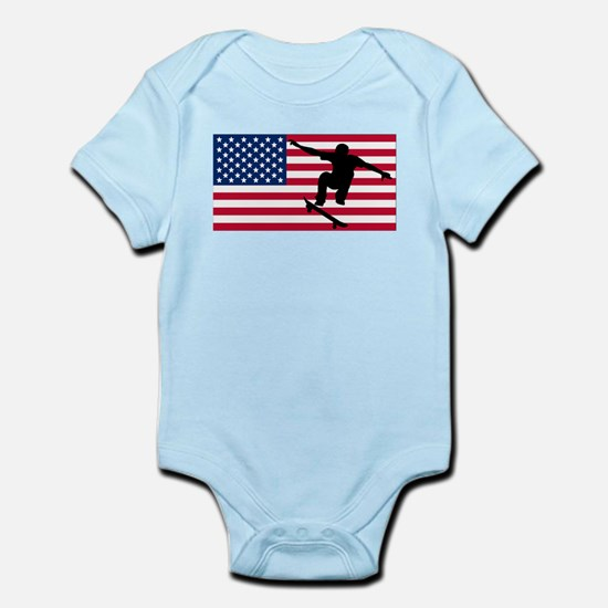Skateboarding American Flag Body Suit