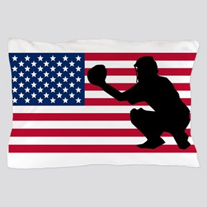 Baseball Catcher American Flag Pillow Case
