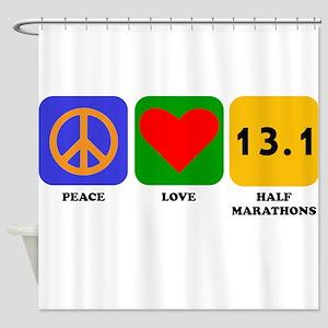 Peace Love Half Marathons Shower Curtain
