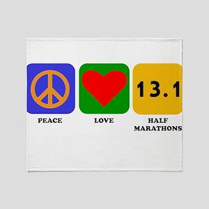 Peace Love Half Marathons Throw Blanket