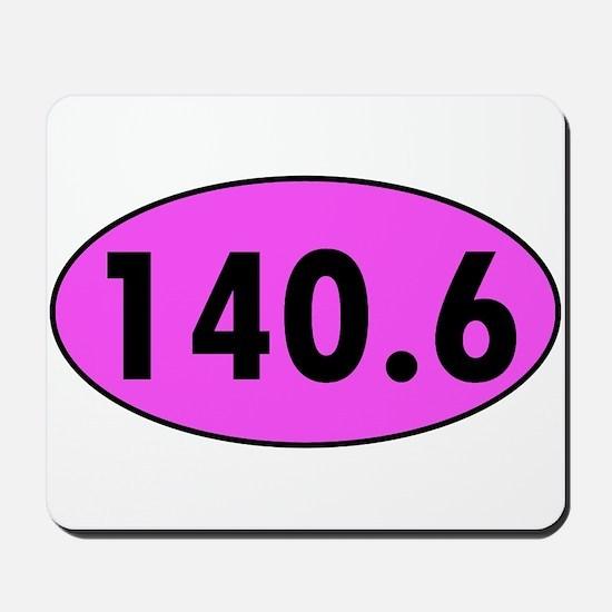 Pink 140.6 Triathlon Oval Mousepad