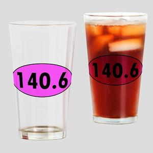 Pink 140.6 Triathlon Oval Drinking Glass