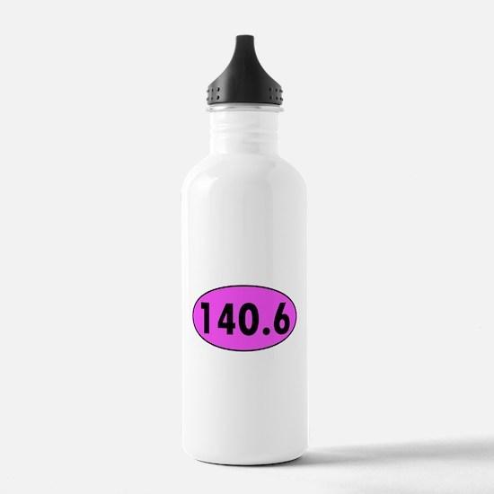 Pink 140.6 Triathlon Oval Sports Water Bottle
