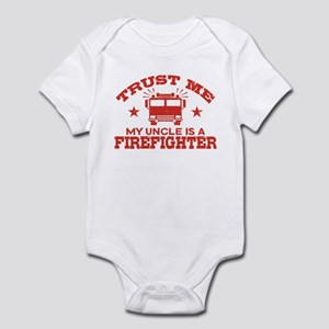 Trust Me My Uncle is a Firefig Baby Light Bodysuit