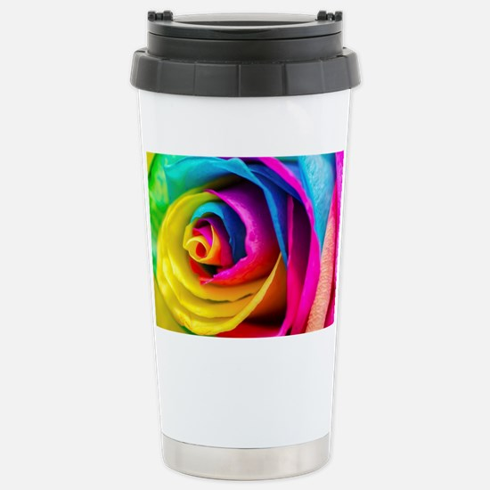 Rainbow Rose Stainless Steel Travel Mug