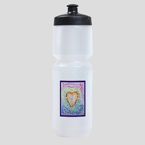 Rainbow Heart Cancer Sports Bottle