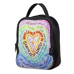 Rainbow Heart Cancer Neoprene Lunch Bag