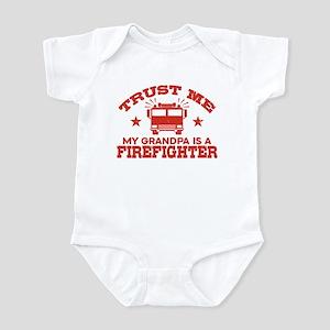 Trust Me My Grandpa is a Firef Baby Light Bodysuit
