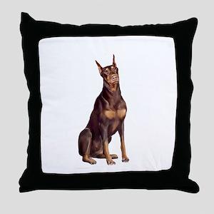 Red Doberman #1 Throw Pillow