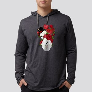 Skulls and Roses Bride Groom Mens Hooded Shirt