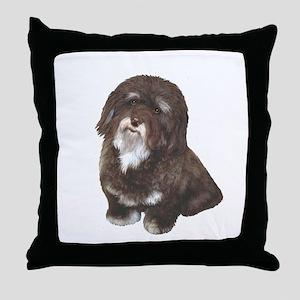 Havanese (brn-blk) Throw Pillow