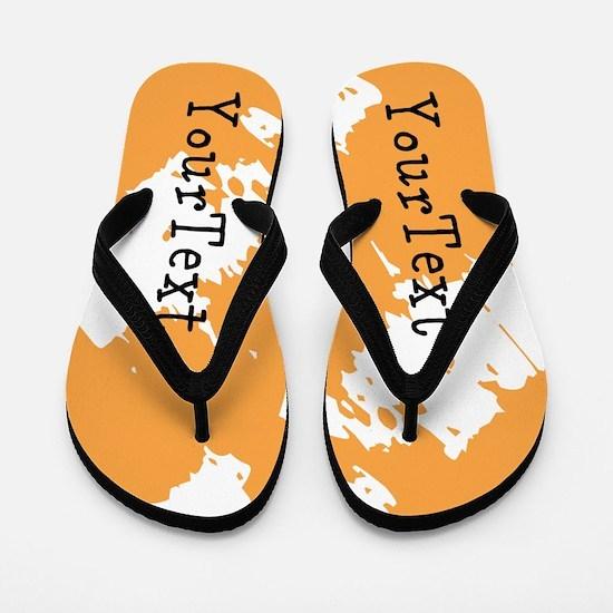 Orange White Personalized Flip Flops