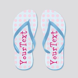 56b5c2cb5fa05a Personalized Pink Blue Polka Dot Flip Flops
