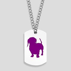 dachshund purple 3 Dog Tags