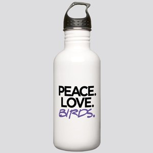 Peace. Love. Birds. (Black and Purple) Water Bottl